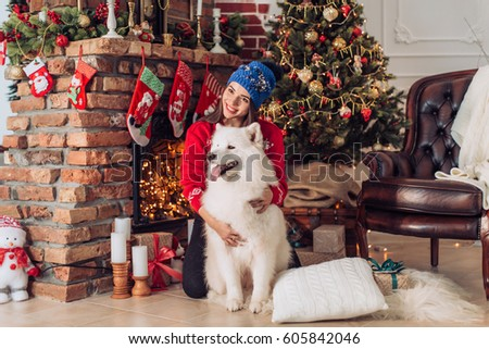 happy girl with samoyed husky dog in christmas decorations - Husky Christmas Decoration