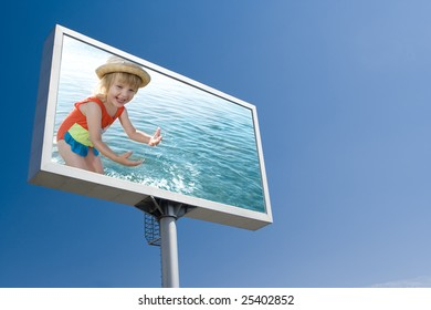 happy girl in sea on the board advertisement under blue  sky