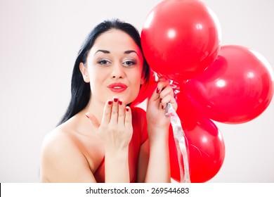 Happy girl sending kisses