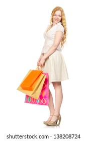 happy girl with shopping bags, isolated on white