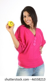 Happy girl with smile ball