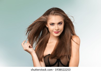Happy Girl Smile. Relaxed and Carefree. Portrait of a beautiful woman posing
