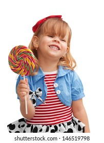 Happy girl smiling and holding lollipop, isolated on white background