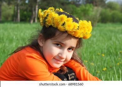 Happy girl in spring