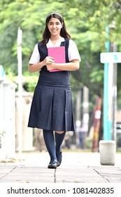 Happy Girl Student Walking To School