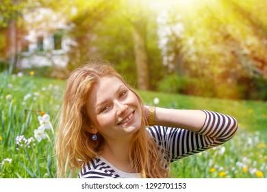 Happy girl in the sun