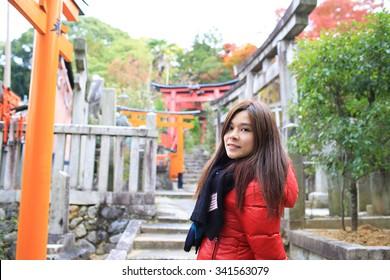 happy girl travel in japan, japan background