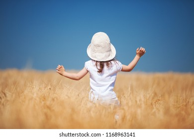 Happy girl walking in golden wheat, enjoying the life in the field. Nature beauty, blue sky and field of wheat. Family outdoor lifestyle. Freedom concept. Cute little girl in summer field
