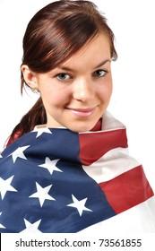 Happy girl wearing american flag