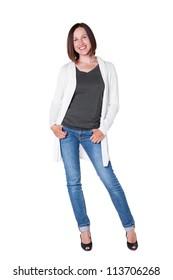 happy girl in the white cardigan posing in studio