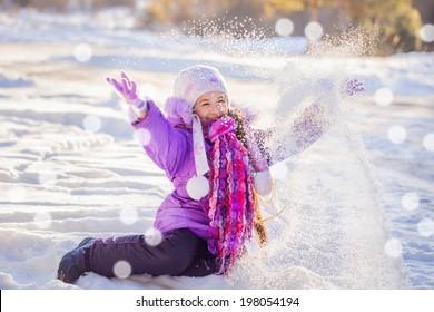 happy girl in winter park