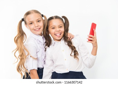 Happy girls smile with 4g mobile phones. Using 4g of wireless mobile telecommunications technology.