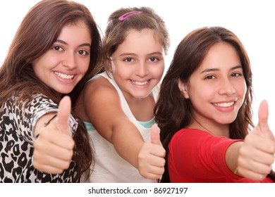 happy girls with thumb up isolated over white background