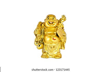 Happy golden laughing Buddha figurine isolated on a white background