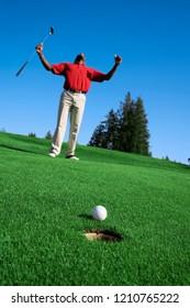 happy golfer man