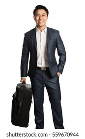 Happy good looking businessman traveling with his bag. Standing in front of a white background.