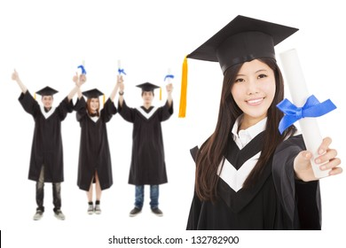 happy  graduate girl and  students