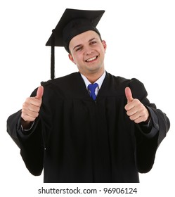 A happy graduate holding up two thumbs up signs, isolated on white