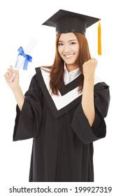 happy Graduate woman Holding diploma and thumb up