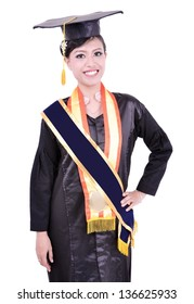 happy graduation by beautiful Asian woman, isolated on white background