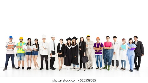 happy graduation and Diverse  People with Different Jobs