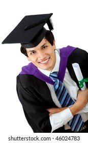Happy graduation man isolated over a white background