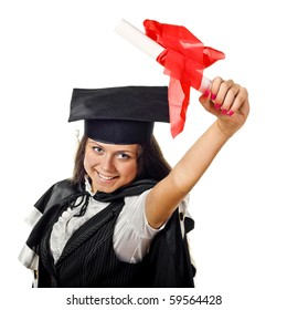 Happy Graduation Student Holding a Certificate