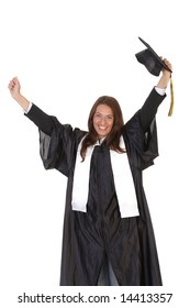 happy graduation a young woman on white background