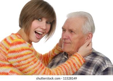 happy grandad and granddaughter