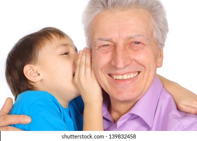 happy grandfather with his grandson on a white background