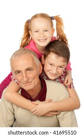 Happy Grandfather and happy kids, isolated on white background