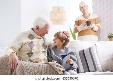 Happy grandfather spending male evening with his grandson