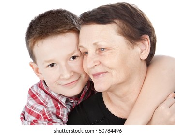 Happy grandma and grandson isolated on white
