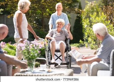 Happy grandma in wheelchair waving to her friend with walking frame during free time in garden