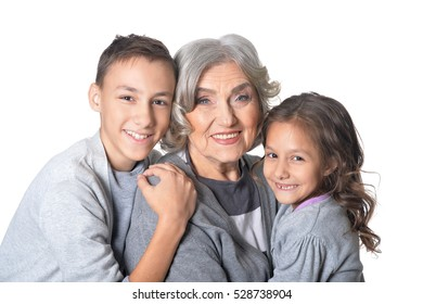 Happy grandmother with kids