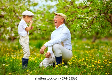happy grandpa with grandson blowing dandelions in spring garden