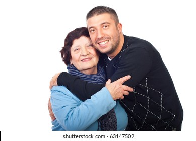 Happy grandson hugging her grandma isolated on white background