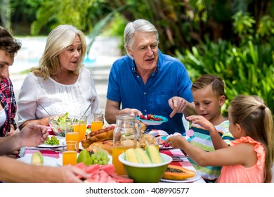 Happy granparents having breakfast with family at yard