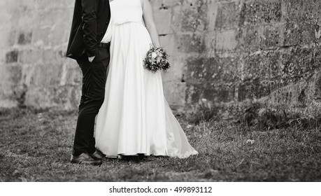 happy groom and bride together, Couple spending very wedding day
