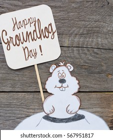Happy Groundhog Day card.