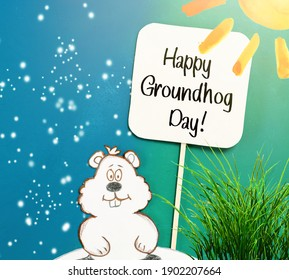 Happy Groundhog Day Card with prediction on early spring and 6 more weeks winter
