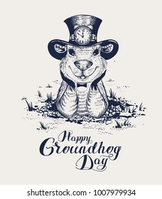 Happy Groundhog Day lettering text for greeting card. Funny marmot in hat gets out of hole and looks forward. Black and white retro illustration