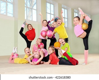 Happy group active children in gym