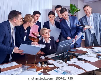 Happy group business people in office. Boss announces bonuses. Employees try to work well for new bosses. Selection of candidates for workplace.