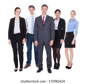 Happy Group Of Businesspeople Standing Over White Background
