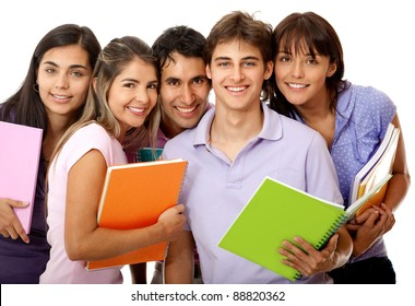 Happy group of college students with notebooks and smiling - isolated over a white background