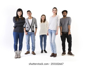 Happy group of friends. Mixed race group. Isolated on a white background.