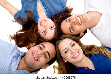 Happy group of friends smiling with heads together isolated
