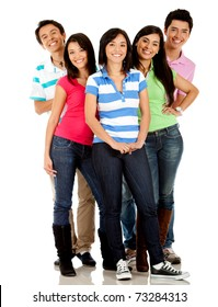 Happy group of friends smiling � isolated over a white background