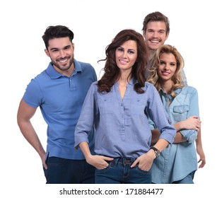 happy group of friends standing together on white background